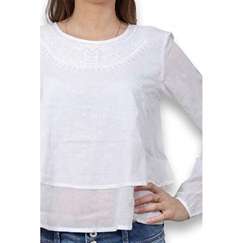 TIFFOSI - Blouse femme manches longues - Blouse femme uni de couleur blanche Blanc