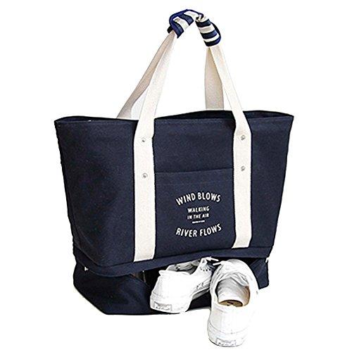GossipBoy tragbare Reise Wochenend Tasche Leinen großen Handtasche oder Schultertasche Seesack Sporttasche mit Schuh Ablagefach, Textil, navy, 37x54.5