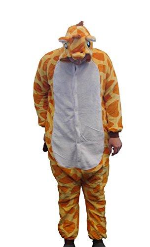 Flannel Kostüm Giraffe Damen Herren Kinder Karnevalskostüm Faschingskostüm Verkleidung Fleece Overall Erwachsene Größe ()