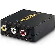 Musou - AV / RCA / CVBS a HDMI Compuesto Convertidor / Adaptador / Conversor, Soporte PAL / NTSC Interruptor, Full HD 720P/1080P, Negro