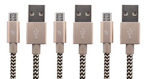 Geflochtenes Nylon Micro USB-Kabel, 180 cm [3er Pack] von Wasserstein für Android Geräte, e-readers und andere Geräte Micro USB from Marken wie Samsung, HTC, LG, Motorola, Nexus, Nokia und vielen mehr 20-bis 24-pin Netzteil Adapter