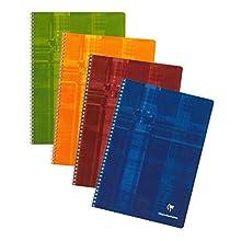 Clairefontaine 81422C Spiralbuch (DIN A4, 21 x 29,7 cm, kariert mit Rand, 50 Blatt) 1 Stück farbig sortiert