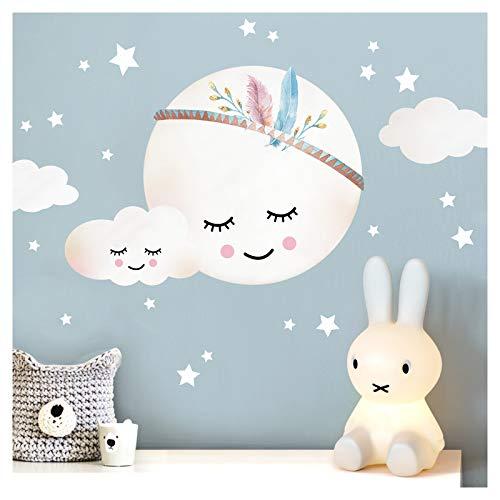 Little Deco Wandtattoo Kinderzimmer Mädchen Mond Wolken Sterne I XL - 65 x 48 cm (BxH) I Federn Wandsticker Babyzimmer selbstklebend Wandaufkleber Baby Kinder DL263