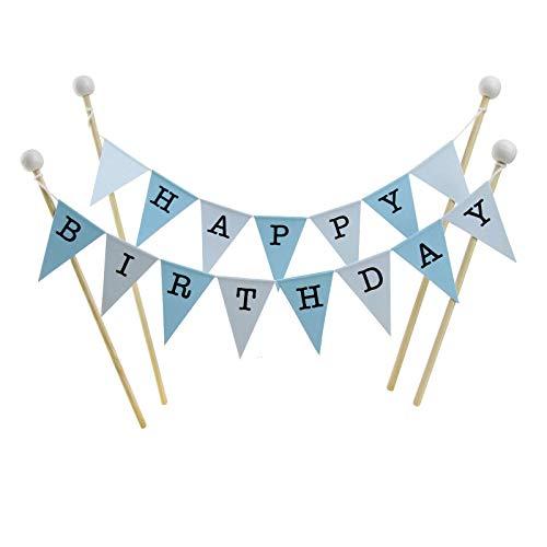 Bambus-stick (amazing buntings Geburtstagskuchen Dekoration, Blau Pastell, Große Fahnen, 4 Bambus Sticks mit Holzperlen)