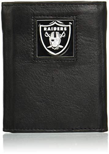 Siskiyou NFL Herren Geldbörse Leder dreifach gefaltet, Herren Jungen, schwarz, Standard - National Schwarz Leder