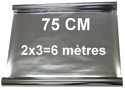 JANEY, Aerzetix - 2x3=6 mètres 75 cm Film solaire teinté SILVER ARGENT EFFET MIROIR pour vitre fenêtre auto voiture velux bâtiment