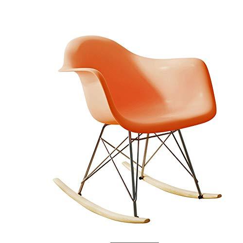Freizeit Stuhl Outdoor Freizeit Sitz Kunststoff Schaukelstuhl Büro Geschirr ABS Kunststoff Lounge Retro Schaukelstuhl Freizeit Sessel Wohnzimmer Balkon Patio Sessel (Color : Orange)