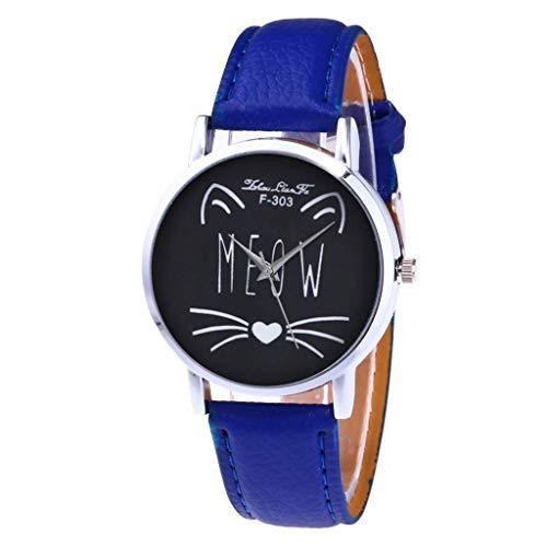 COOKDATE Herren Damen Analog Uhr Dünn Elegant Luxusuhr Geschäft Braun Armband Blau