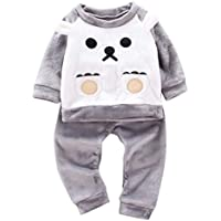 uBabamama Lovely Cartoon Bear Pajamas for 1-6 Years Kids Baby Boys Girl Soft Fluffy Long Sleeve Pullover Tops+Pants Warm Clothes Set(Gray,M-2-3 Years)