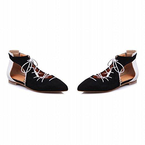 Mee Shoes Damen Flach Schnürung Knöchelriemchen Sandalen Schwarz