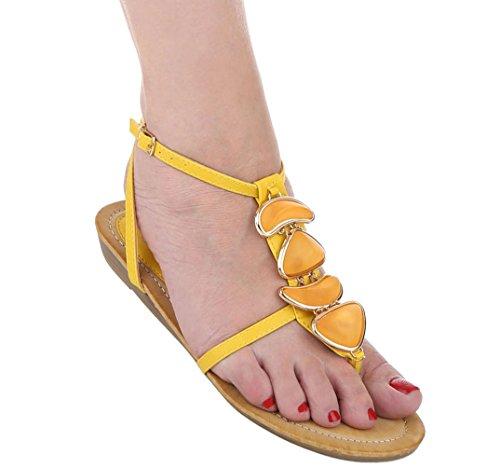 Damen Sandalen Schuhe Sommerschuhe Strandschuhe Zehentrenner Gelb Beige Coral 36 37 38 39 40 41
