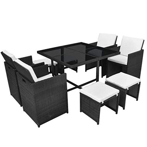 mewmewcat Garten Essgruppe 21-TLG. Poly Rattan Gartenmöbel Set Tischset Sitzgruppe Gartentisch und Stühle Tisch und Stuhl Set Gartensofa Set