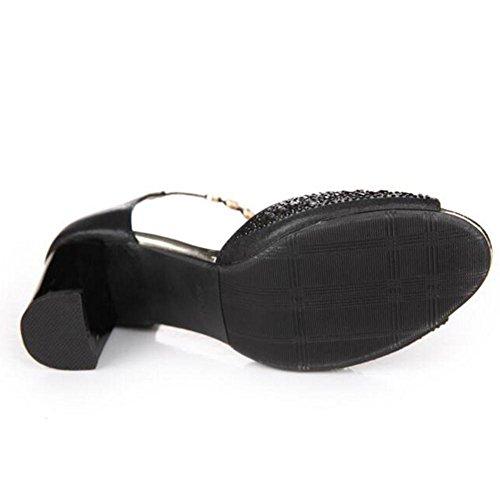 L@YC® Frauen Sandalen Wort WöLbung Weibliche Sommer Tasche High Heels Mit Party WasserfäLle Fisch Mund Tanz Damenschuhe Black