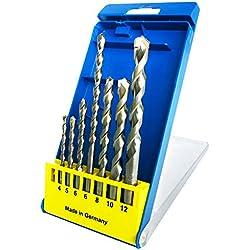 S&R Forets à Béton de Fabrication Allemande. Coffret avec 7 forets de: 4x85, 5x85, 6x100, 6x150, 8x120, 10x120, 12x150 mm. Forets Professionnels avecTige et tête cylindriques.