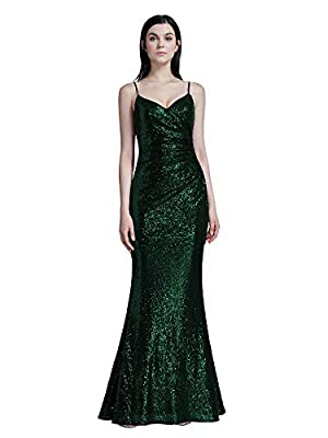Ever Pretty Women's Spaghetti Straps Long Sequin Mermaid Party Evening Dresses 07087