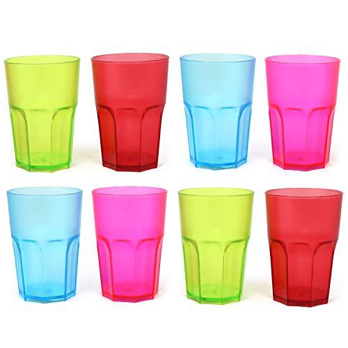 COM-FOUR® 8x Stabile Trinkbecher in verschiedenen Farben, bunte Mehrweg- Becher, stapelbar, 400 ml (08 Stück - Becher bunt) (Party-teller Verschiedene Farben)