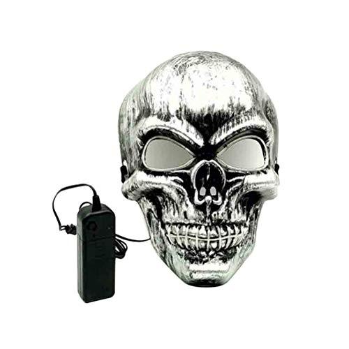 Putzt Sich Kostüm Halloween - Amosfun Leuchtende Schädel Maske Prop Maske putzt Sich Zubehör für Halloween Maskerade Kostüm Party Karneval Leistung (ohne Batterie)