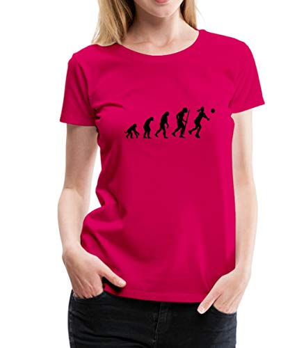Spreadshirt Evolution Volleyball Spielerin Frauen Premium T-Shirt, 3XL (46), Dunkles Pink - Evolution Dunklen T-shirt