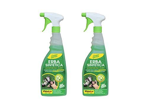 Chimiver® - Clean Garden Pronto Kit 2 pièces | Détergent désinfectant alcalin prêt à l'emploi pour l'entretien Quotidien du Gazon synthétique. Paquet de 2 Bouteilles avec nébuliseur de 750ml.