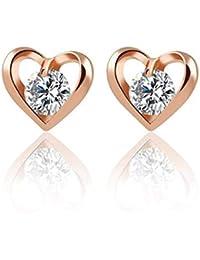 Glitz Girlfriend Gifts Romantic Heart Flower Crystal Stud Earrings (Silver/Gold)