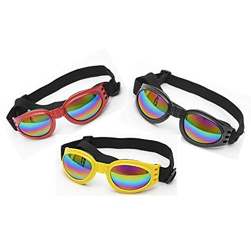 HUILI Hund Sonnenbrille UV-Schutz, Pet Brille Folding Pet Dog Sonnenbrille mit verstellbarem Gurt Anti-Fog-Mode Brillen Brille (3 Stück),A