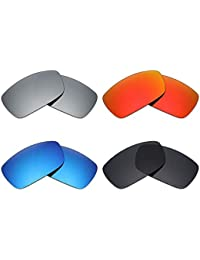 2021191f9a Mryok 4 Pair Polarized Replacement Lenses for Oakley Spike Sunglass - Stealth  Black Fire Red Ice Blue Silver…
