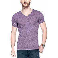 Tinted Men's Solid Slim Fit T-Shirt (TJ101RH_Purple_Large)