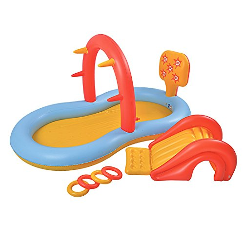Jilong Slidding Spray Pool 225x124x104 cm Kinderpool Planschbecken Kinder Schwimmbecken mit Rutsche Wassersprüher Wasserspritze mit Gartenschlauch-Anschluß und diversem Wasserspielzeug
