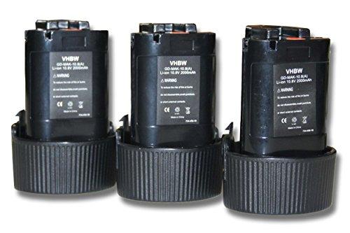 vhbw 3X Li-Ion Akku 2000mAh (10.8V) für Werkzeuge Makita CL100, CL100DW, CL100DZ, CL102DZX, DF030 wie Makita 194550-6, 194551-4, BL1013, BL1014.