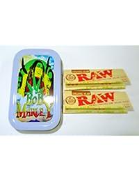 1oz Bob Marley (Color Gris), diseño Tabaco/Bolsillo/Stash lata + 2Raw Orgánica 1–1/4Tamaño folletos Combo se vende por Trendz