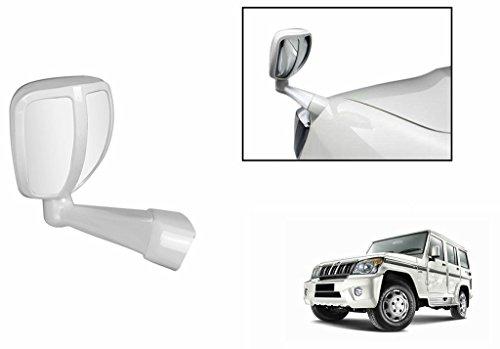 Mahekas- {White} Front Fender Wide Angle Mirror + Mahekas logo keyring for Tata Indica