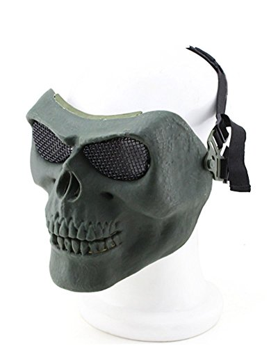 (012765 Tastschalter Metallic Maske für Radfahren/Halloween/Totenkopf Skelett/Airsoft/Paintball/BB Gun, eine Full Face Schutz Maske Shot Helme OD)