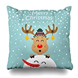 Monicago Zierkissenbezüge, Funny Brown Christmas Reindeer Snowman Abstract Holiday Wildlife Cute Deer Celebration Character Pillowcase Square Size 18 x 18 Inches Zippered Home Decor Cushion Case