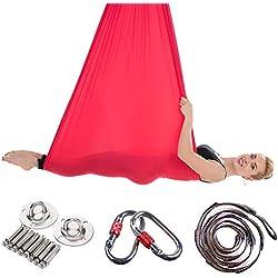 JIALFA Aerial Hamaca de Yoga, Silk Yoga Swing para Yoga antigravedad, Ejercicios de inversión, Flexibilidad Mejorada y Resistencia del núcleo - Accesorios de Montaje incluidos (Rojo)