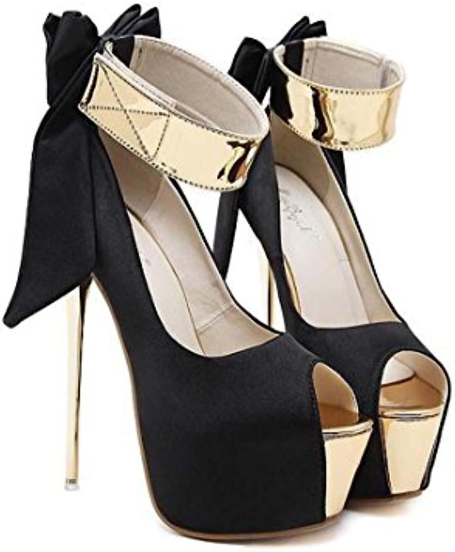 Grande arco di Coloreeee uebereinstimmung High Heel piattaforma stiletto peep peep peep toe singolo scarpe, nero, 38 | Acquista  | Scolaro/Signora Scarpa  7b6ae5