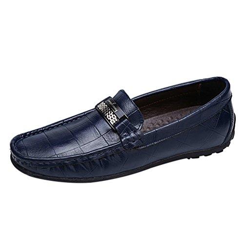 Dooxi uomo elegante mocassini scarpe casuale piatto scivolare loafers scarpe blu 40