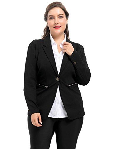 Chicwe Women S Metal Zipper Stretch Ponte Roma Plus Size Work Blazer 1x 4x