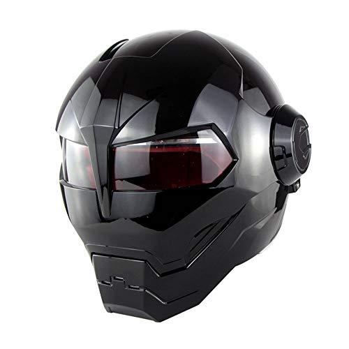 WANSHENG Casco Moto Omologato D.O.T Motocross Casco Moto Casco Moto Aperto Flip, Iron Man Transformers - M, L, XL Nero,M