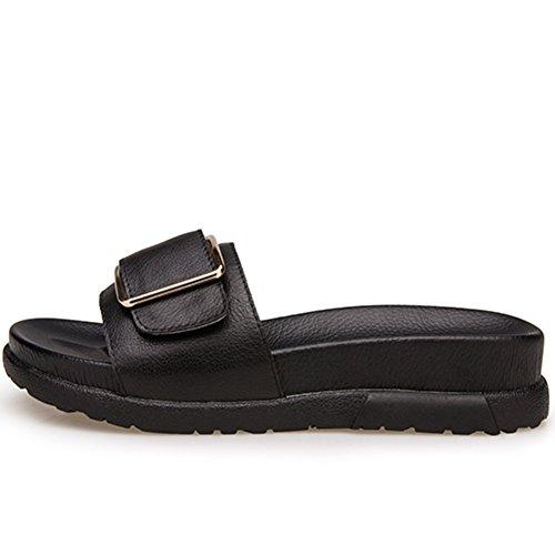 La mode d'été porte un fond épais du mot sandales/Boucle latérale en cuir véritable pantoufles A