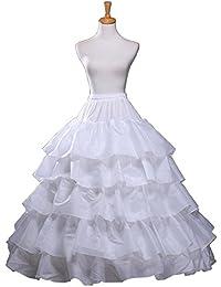 rukleid Wowen Maxi del A-line vestidos de boda ropa interior enaguas miriñaque boda fiesta, Hoopless, 5capas, un tamaño, conveniente para el tamaño XS–XXL, blanco