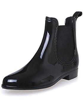 SAGUARO® Damen Kurzschaft Stiefel Gummistiefel Gummistiefeletten Regenstiefel Chelsea Boots