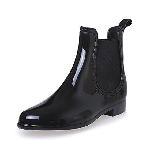 SGoodshoes femmes Bottines de pluie Chaussure Mode Bottine Chelsea Boots imperméables 37, Noir