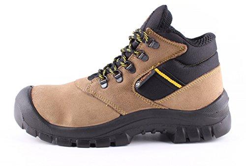 Stenso Atletic Ankle S1® - Sicherheitsschuhe für die Arbeit - aus Veloursleder - knöchelhoch - Stahlkappe - Braun - 45