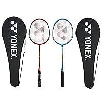 Yonex GR 303 Aluminum Blend Badminton Racquet with Full Cover, Set of 2 (Red/Blue)