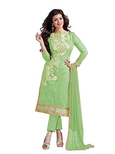 Blissta Light Green Chanderi Embroidered salwar suit Dress Material