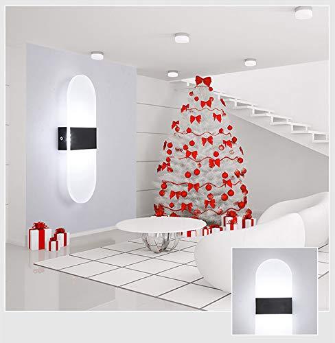 Applique da parete a led su per il cubo, camera da letto interna, riparo della decorazione, camera da letto, hotel, ovale-bianco-bianco al, 14x6cm 3w