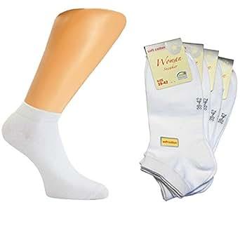 4 Paar Damen Sommer Sneaker Socken in Weiß einfarbig aus Soft Cotton Größe 39-42