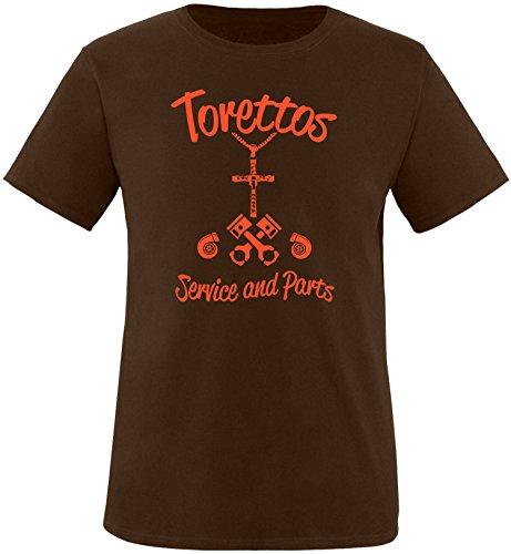 EZYshirt® Torettos service & parts Herren Rundhals T-Shirt Braun/Orange