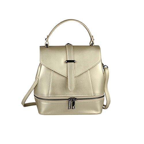 OBC MADE IN ITALY 2in1 DAMEN Echt LEDER TASCHE RUCKSACK Schultertasche Handtasche Umhängetasche Ledertasche Lederrucksack CrossOver Daypack Backpack Crossbag Silber Gold