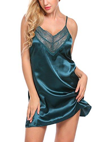 Untlet Damen Satin Nachtkleid Sexy Nachtwäsche Dessous Negligee Babydoll Lingerie Nachthemd Kurz mit Spitze Dekor, Größe X-Large, Farbe Dunkelgrün (Chemise Dessous Nachthemd)